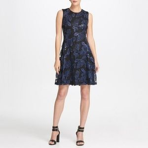 DKNY Sequin Mesh Fit Flare Dress Black/Blueberry